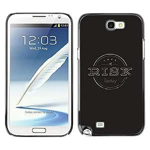 iBinBang / Funda Carcasa Cover Skin Case - Gestión de Riesgos Negro Gris sello - Samsung Note 2 N7100