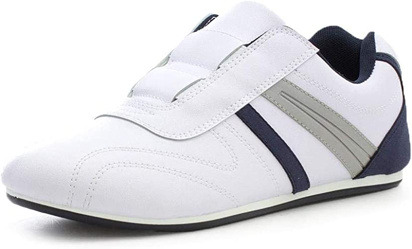 Mens White Trainers Slip On Sports Running Athletic Casual Gym Shoes Podium