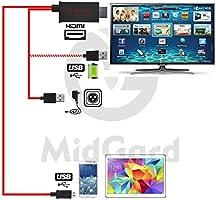 11 pines MHL HDMI HDTV Adaptador Convertidor HD TV Usb Cable rojo para Samsung teléfonos móviles, teléfonos inteligentes y Tablet PC: Amazon.es: Electrónica