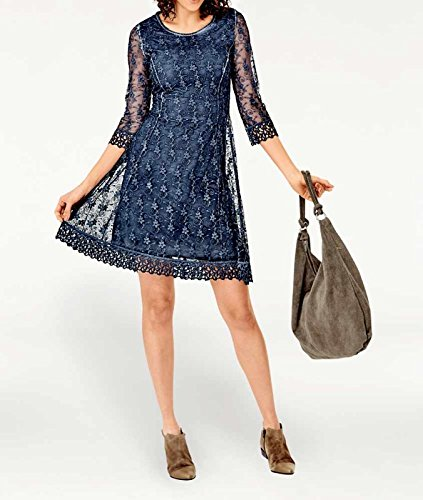 Vestido Vestido en Azul de noche azul encajes noche Tesini Linea de SqRxqpnCwd
