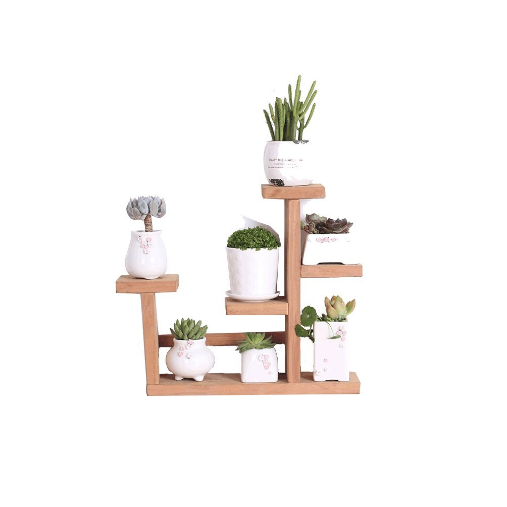 LQQGXL Wooden desk storage rack creative table multi-layer succulent flower stand ladder simple small shelf 35x34 cm Flower stand