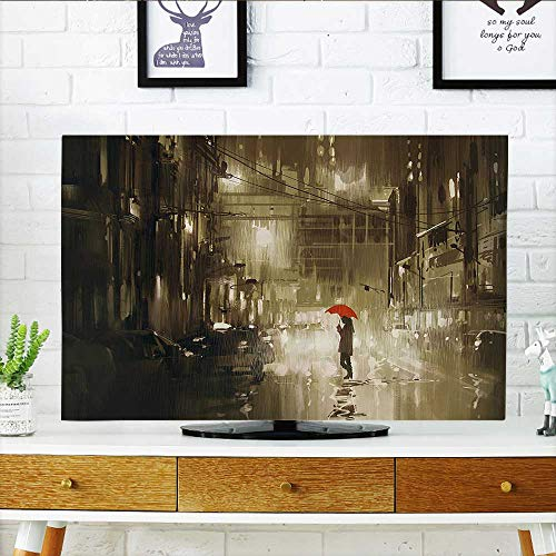 (L-QN Television Protector Woman with Red Umbrella in Streat Rainy Night in Town Shadow Urban ery Television Protector W32 x H51 INCH/TV 55