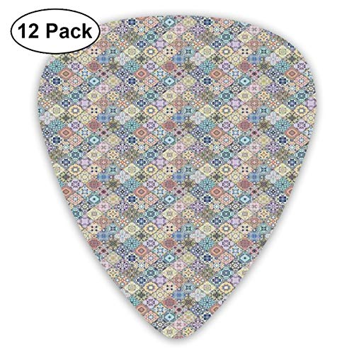 Celluloid Guitar Picks - 12 Pack,Abstract Art Colorful Designs,Stylized Pastel Oriental Mosaic Square Scraps Kaleidoscopic Effect Tile Pattern,For Bass Electric & Acoustic Guitars. ()