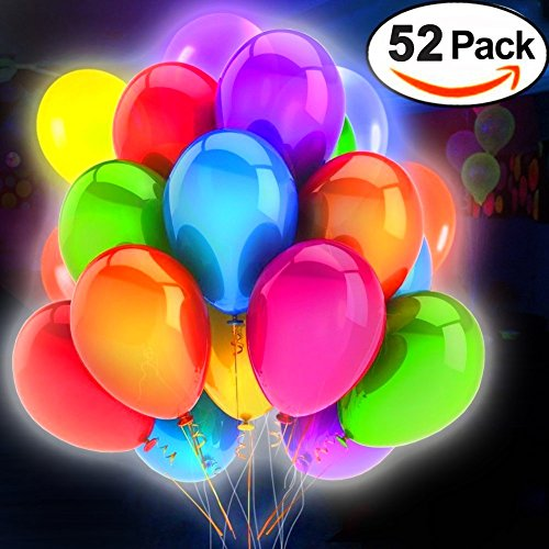 Halloween Birthday Party Ideas For Adults (52 Pack LED Flashing Balloons Light Up Toys- Mixed Colors -Party Supplies Lights Favors Sets- Ideal for Halloween Christmas Parties,Birthdays and Wedding Decorations Balloons,Gift(12 Inches))