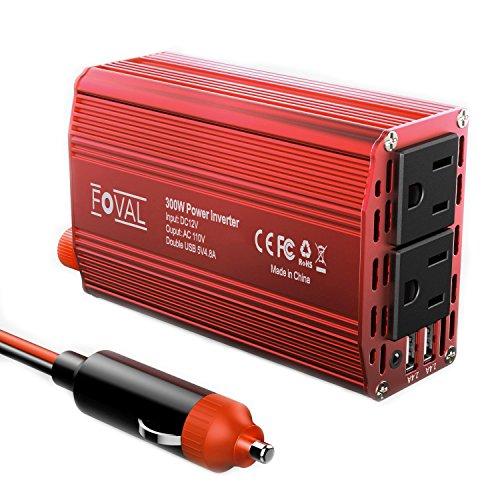 Car Power Inverter, Foval Car Power Inverter with 300W Dual 110V AC Outlets Dual 4.8A USB DC 12V to 110V AC Car