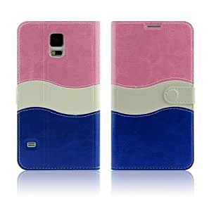 Noarks « Modern Stylish S Shape Pattern PU Leather Flip Wallet Case Cover for Samsung Galaxy S5 i9600 (S Shape Pink Blue)