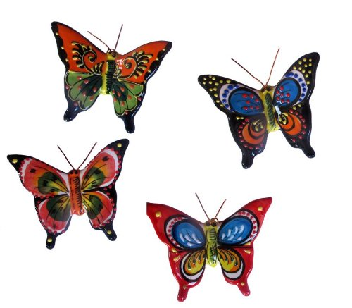 Cheap  Spanish Butterflies - Set of 4 Small Ceramic Wall Hangers - Hand..