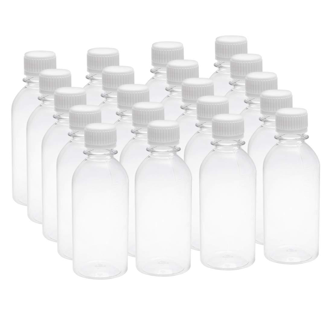 10 St/ück mit manipulationssicheren Kappen 60 ml klein Sourcing Map Kunststoff-Reagenzflasche transparent