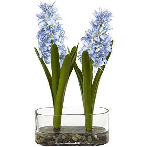 Nearly Natural Double Hyacinth in Vase, 14