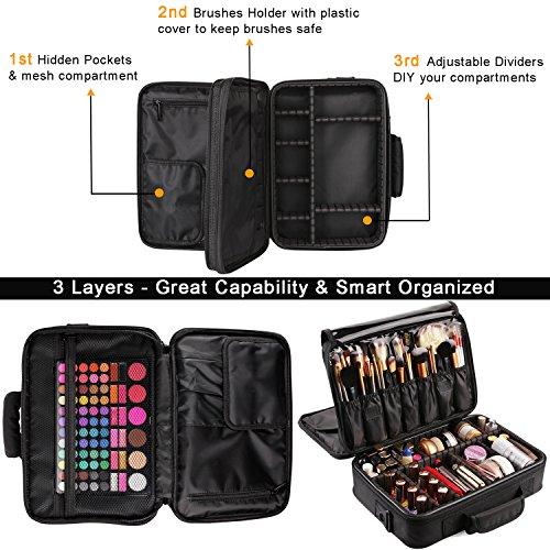 VASKER 3 Makeup Travel Case Portable Train Cases Holder Black