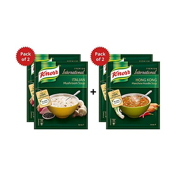 Knorr Italian Mushroom Soup, 2 x 48 g with Honkong Manchow Noodles Soup 46 g (Pack of 2)