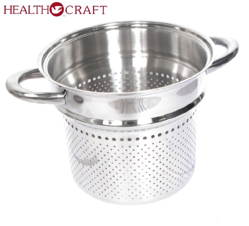 Health Craft Stainless Steel 6.5 Qt Deep Stockpot W/6 Qt Spaghetti Cooker Insert by Health Craft True Induction (Image #1)