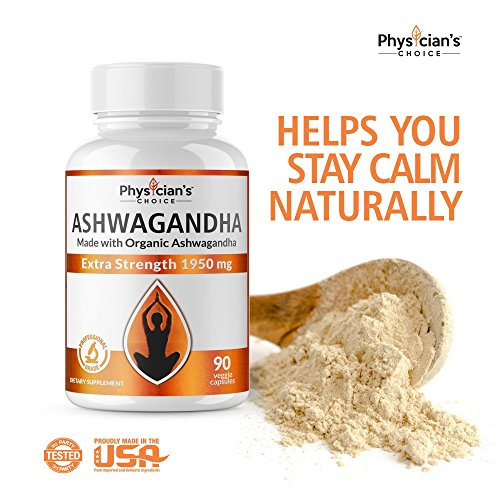 Ashwagandha 1950mg Organic Ashwagandha Root Powder Extract of Black Pepper Anxiety Relief, Thyroid Support, Cortisol & Adrenal Support, Anti Anxiety & Adrenal Fatigue Supplements 90 Veggie Capsules by PhysiciansChoice (Image #4)