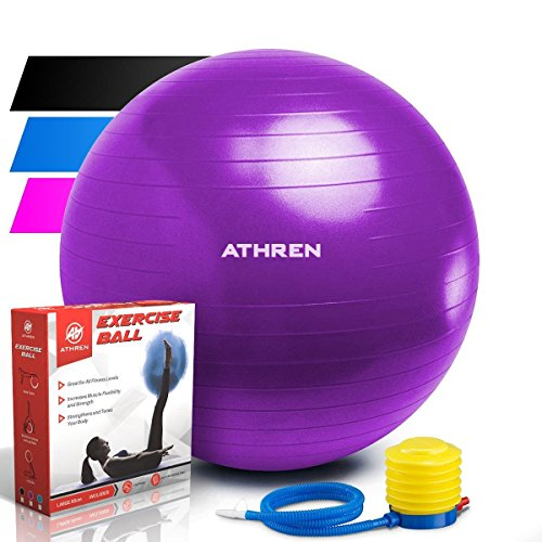 Exercise Ball with Foot Pump (GYM QUALITY FITNESS BALL) - 2000lbs Anti-burst...