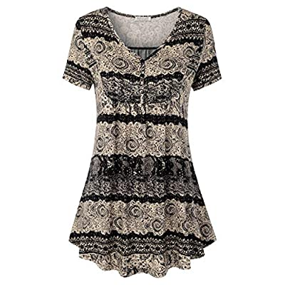 BAISHENGGT Women's V Neck Buttons Pleated Flared Comfy Tunic Tops at Women's Clothing store