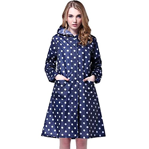 Trinny Women's Long Dot Waterproof Raincoat Rainwear Rain Jacket (Blue)