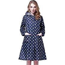 Priny Women's Long Dot Waterproof Raincoat Rainwear Rain Jacket Suitable for People Under 160 Pounds