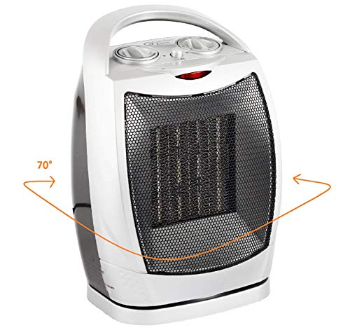 Oscillating Space Heater – Forced Fan Heating with Stay Cool Housing - Thermal Ceramic PTC with Tip-Over Safety Cut-Off, Overheat Protection and Adjustable Thermostat - Rotates 70° - by Bovado USA