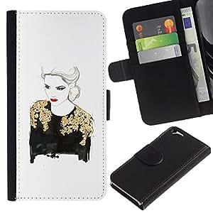 KLONGSHOP / Tirón de la caja Cartera de cuero con ranuras para tarjetas - Gold Lady Woman Red Lips White - Apple iPhone 6 4.7