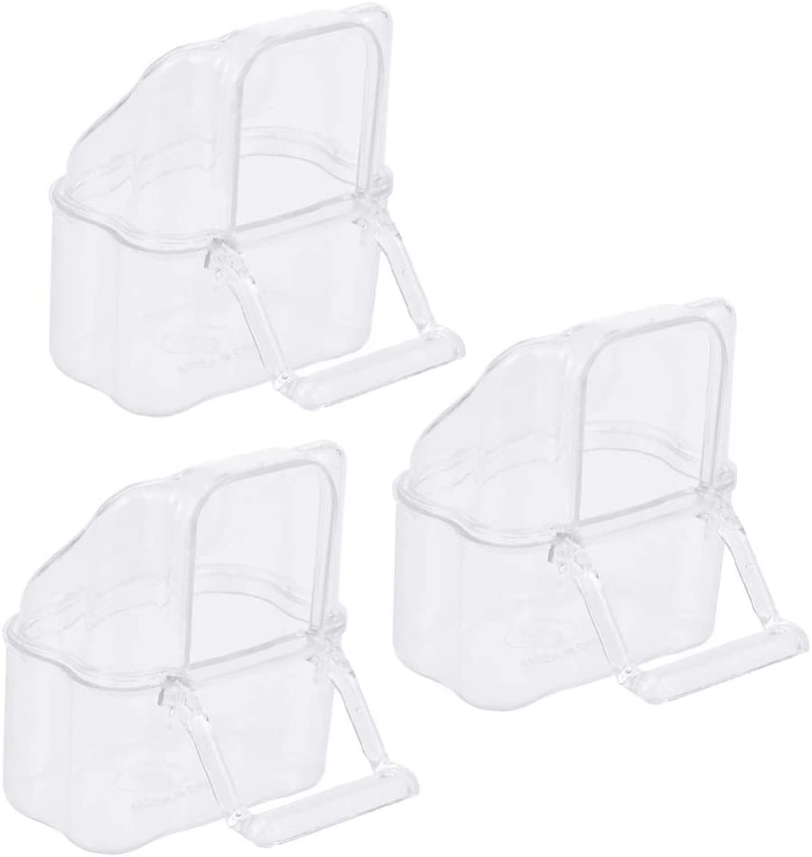 POPETPOP Bird Cage Hanging Feeder Cups - 3 Pcs Bird Cage Clear Plastic Food & Water Dispenser Bowl - No Mess Bird Feeder Bowl for Pet and Animal Cages