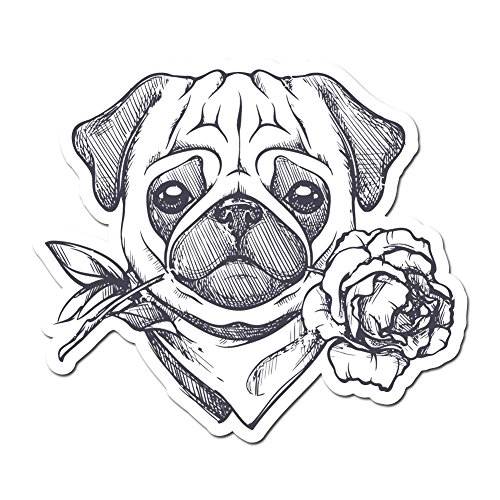Pup Bandana (Cute Pug Puppy With Scarf and Rose - 6 InchFull Color Vinyl Decal for Indoor or Outdoor use, Cars, Laptops, Décor, Windows, and more)