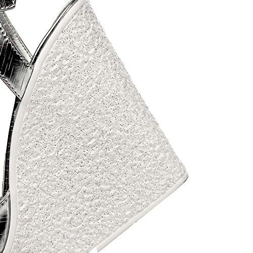 Amoonyfashion Donna Fibbia Tacchi Alti Materiali Solidi Sandali Open Toe In Argento