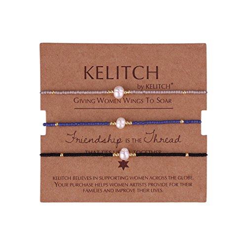 KELITCH 3 Pcs Shell Pearl Seed Beads Friendship Bracelets Handmade Adjustable String Bracelet #H (3 Way Best Friend Jewelry)