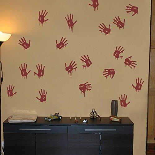 MairGwall Bloody Hand Prints Blood Splatter Sticker for Halloween Room Decoration (Large,Custom) -