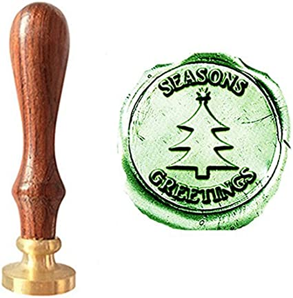 MNYR Vintage Merry Christmas Tree Star Decorative Wedding Invitations Gift Cards Paper Stationary Envelope Seals Wax Seal Stamp Sealing Wax Stamp Gift Set