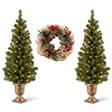 Classic 2-Pack Montclair Spruce Christmas Tree 4' Tall Pre-Strung With 50 Clear Lights and 26-Inch Lighted Natural Mesh Wreath, Festive Designs Bundle, Decorative Holiday Accents You'll Love!