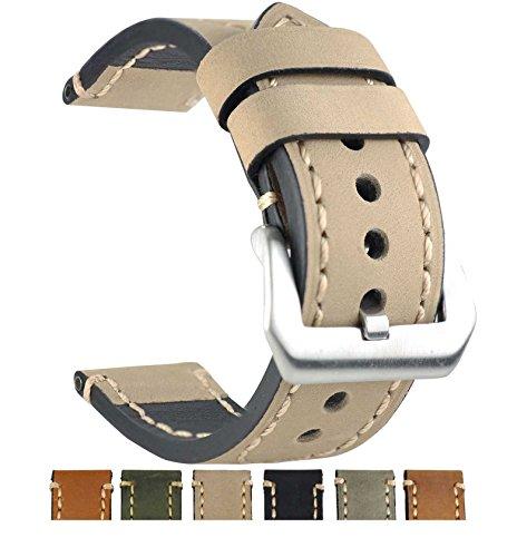 Italian Yellow Wrist Watch - ZLIMSN Genuine Leather Watchbands for Men 20mm 22mm 24mm 26mm Wristwatch Watch Band Belt Black Brown Strap Replacement (22mm, Yellow)