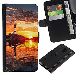 KLONGSHOP // Tirón de la caja Cartera de cuero con ranuras para tarjetas - Light House Sunset - Samsung Galaxy S5 V SM-G900 //