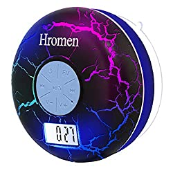 Hromen Bluetooth Shower Speaker IPX7 Waterproof Bathroom Speakers with FM Radio,NFC,LCD Display,Clock, Cool Cracking Backlit,Strong Adhesion Suction Cup Hands-Free Calls ...