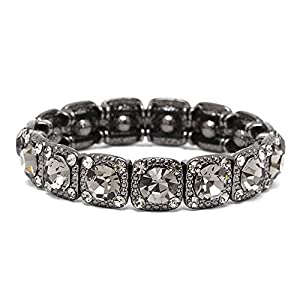 Mariell Vintage Black Diamond Crystal Stretch Bracelet - Adjustable Bangle for Prom, Bridesmaid & Fashion