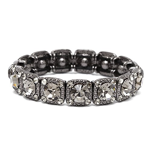 Crystal Vintage Style Bracelet - Mariell Vintage Black Diamond Crystal Stretch Bracelet - Adjustable Bangle for Prom, Bridesmaid & Fashion