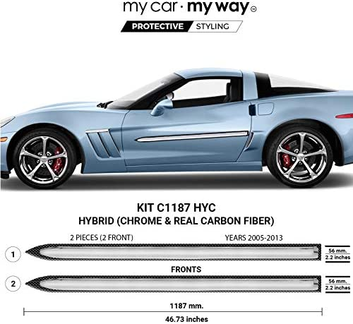 MY CAR MY WAY (Fits) Chevrolet Corvette 2005-2013 Hybrid Body Side Molding Cover Trim Door Protector
