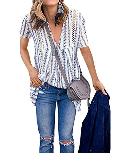 - ZXZY Women Long Sleeve V Neck Hollow Out Floral Print Shirt Tops Long Blouse Tee (L, 3-Blue)