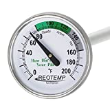 "REOTEMP FG20P Backyard Compost Thermometer - 20"" Stem, Fahrenheit with Composting Instructions"