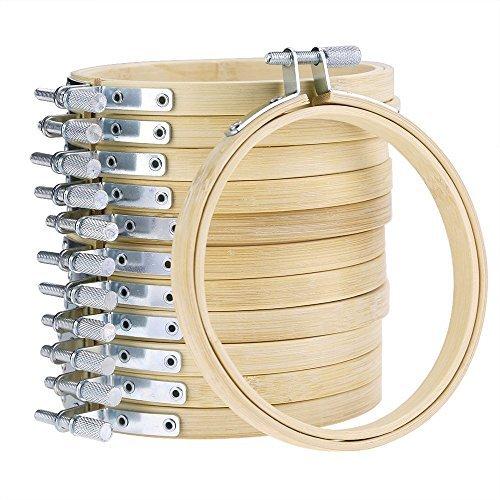 Ivinxy - Juego de 10 Aros de Bordado de Madera Redondos de 8 cm para Punto de Cruz al por Mayor Ajustable de bambú