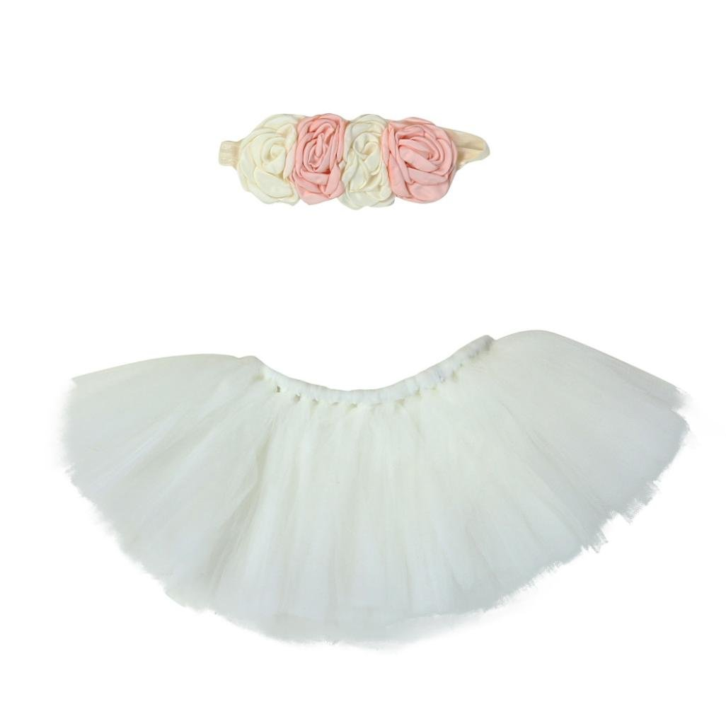 For Baby Photography Set,Y56 New Universal Baby Cute Newborn Infant Baby Boy Girl Tutu Skirt Headband Baby Outfit Photography Prop 0-4 Months 5656YAO