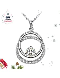 Silver Necklace for Women, Fine Jewelry ZHULERY Charm Ring 925 Sterling Silver, 5A Cubic Zircon, Best Gift for Her with Exquisite Package