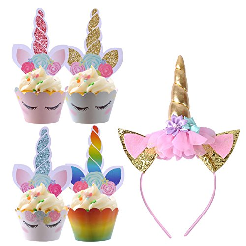eZAKKA Unicorn Cupcake Toppers and Double Sided Wrappers with Unicorn Horn Flower Headband for Kids Party Cake Decorations, Birthday Party, Baby Shower Supplies, Unicorn Cake Decor, (Homemade Flower Child Costumes)