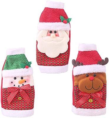 KEBY Juego de 3 fundas para botellas de vino de Navidad para decoración de mesa de hogar: Amazon.es: Hogar