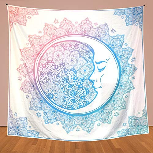 GoDarty 60 X 80 Blue and Pink Mandala Tapestry with 2pc Hanging Clips for Dorm Decor or Room – Psychedelic Bohemian Indian Shabby Chic Hippie Wall Style