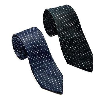 Luxeis Men Premium Neck Tie Combo (Black, Navy Blue; Free Size) (Pack of 2)