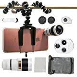 Phone Camera Lenses, Collasaro Phone Lens Kit with HD Telephoto Lens, Fish-Eye Lens, 0.63X Wide Angle Lens, 15X Macro Lens and CPL Lense for iPhone and Android Smartphones (white)