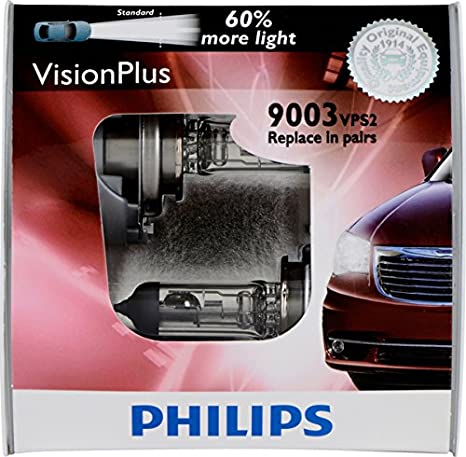 Philips H1 VisionPlus Upgrade Headlight Bulb with up to 60% More Vision, 2 Pack 12258VPB2