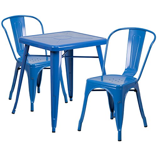 Blue 2 Piece Stack Chair (Flash Furniture 23.75'' Square Blue Metal Indoor-Outdoor Table Set with 2 Stack Chairs)