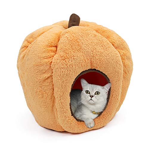 PAWZ Road Halloween Cozy Cat Bed, Puppy Hut Kitty Cave Pumpkin-Shaped Kennel, Non-Slip and Durable for Cats and Small…