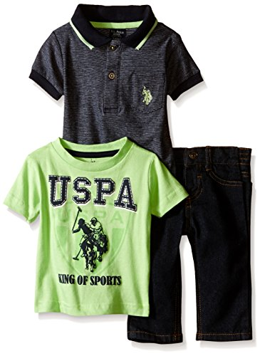 U.S. Polo Assn. Baby Boys'' 3 Piece Short Sleeve Shirt, Graphic Print T-Shirt and Denim Jean